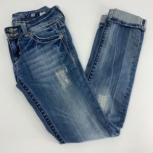 Miss Me Distressed skinny jeans cuffed hem size 28